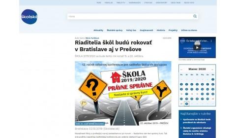 www.skolske.sk – 02.10.2019: Riaditelia škôl budú rokovať v Bratislave aj v Prešove