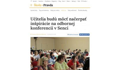 pravda.sk – 12.4.2019: Učitelia budú môcť načerpať inšpirácie na odbornej konferencii v Senci