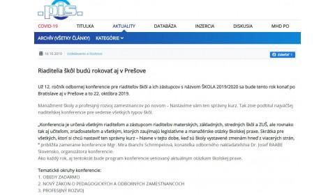 pis.sk – 16.10.2019: Riaditelia škôl budú rokovať aj v Prešove