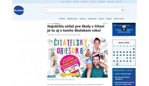 www.skolske.sk – 16.10.2019: Najväčšia súťaž pre školy v čítaní je tu aj v tomto školskom roku!