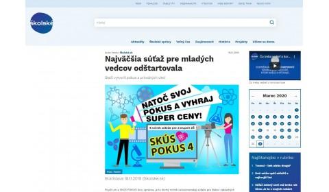 www.skolske.sk – 18.11.2019: Najväčšia súťaž pre mladých vedcov odštartovala