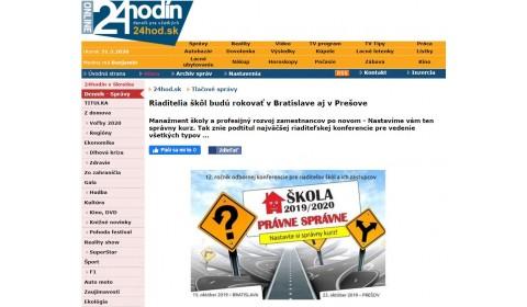 24hod.sk – 02.10.2019: Riaditelia škôl budú rokovať v Bratislave aj v Prešove