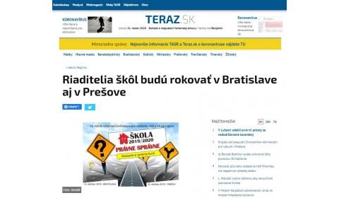 teraz.sk – 02.10.2019:  Riaditelia škôl budú rokovať v Bratislave aj v Prešove