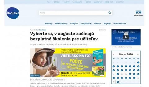 skolske.sk – 29.07.2019: Vyberte si, v auguste začínajú bezplatné školenia pre učiteľov