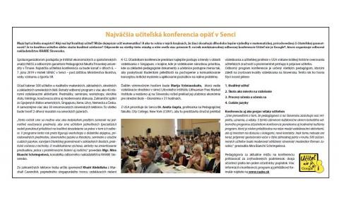 Hospodárske noviny – 9.5.2019: Najväčšia učiteľská konferencia opäť v Senci