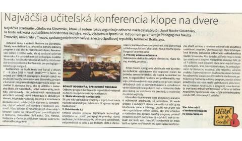 Hospodárske noviny  – 21. 5. 2018: Najväčšia učiteľská konferencia klope na dvere