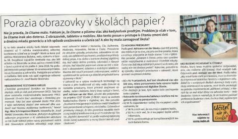 Hospodárske noviny  – 7. 6. 2018: Porazia obrazovky v školách papier?