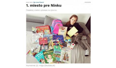 www.skolske.sk – 23.5.2019: Prvé miesto pre Ninku