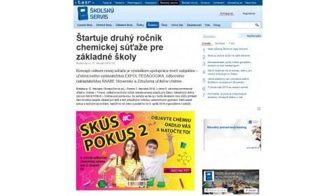 skolskyservis.sk – 12. 2. 2018: Štartuje druhý ročník chemickej súťaže pre základné školy