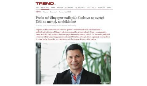 Trend – 10.6.2019: Prečo má Singapur najlepšie školstvo?
