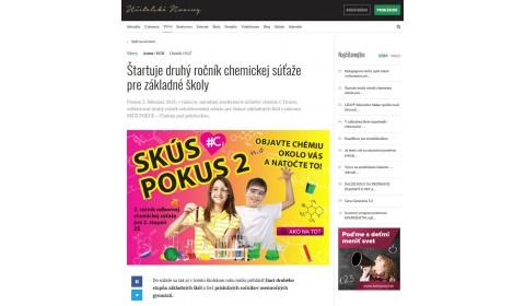 ucn.sk – 13. 2. 2018: Štartuje druhý ročník chemickej súťaže pre základné školy