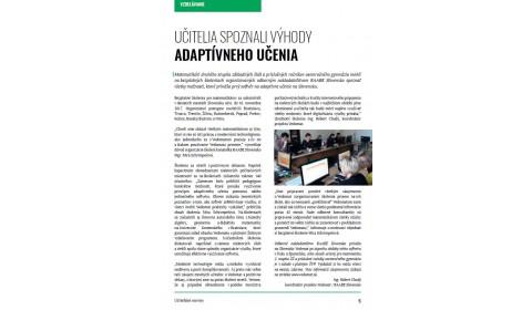 Učiteľské noviny – január 2018, strana 5: UČITELIA SPOZNALI VÝHODY ADAPTÍVNEHO UČENIA