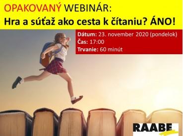 OPAKOVANÝ WEBINÁR: Hra a súťaž ako cesta k čítaniu? ÁNO! | 23.11.2020