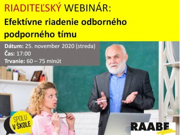 RIADITEĽSKÝ WEBINÁR: Efektívne riadenie odborného podporného tímu | 25.11.2020