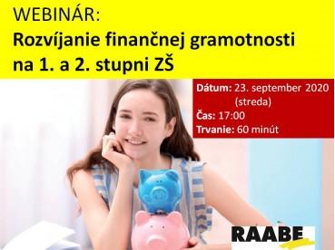 ROZVÍJANIE FINANČNEJ GRAMOTNOSTI NA 1. A 2. STUPNI ZŠ | 23.09.2020