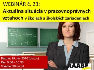 Aktuálna situácia v pracovnoprávnych vzťahoch v školách a školských zariadeniach | 19.06.2020