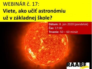 Viete, ako učiť astronómiu v základnej škole? | 08.06.2020