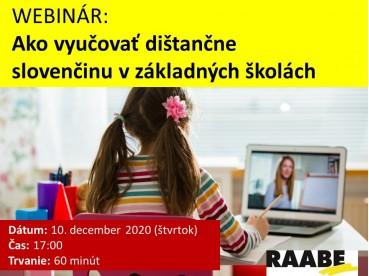 Ako vyučovať dištančne slovenčinu v základnej škole? | 10.12.2020