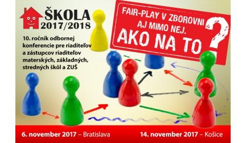 Konferencia ŠKOLA 2017/2018 bude o fair-play v zborovni aj mimo nej