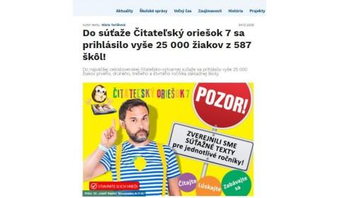 skolske.sk – 4.12.2020: Do súťaže Čitateľský oriešok 7 sa prihlásilo vyše 25 000 žiakov z 587 škôl!