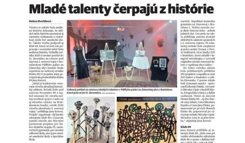 Pravda – 5.12.2020: Mladé talenty čerpajú z histórie