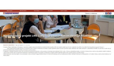 seredskenoviny.sk – 21.12.2020: Medzinárodný projekt LIRE (Language Interpretation through REading)