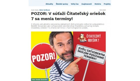 skolske.sk – 15.1.2021: POZOR: V súťaži Čitateľskýoriešok 7 sa menia termíny!