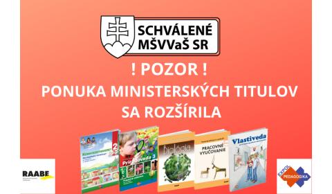 MINISTERSTVO PRIDALO NA ZOZNAMY ĎALŠIE TITULY