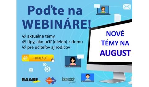 Webináre pre učiteľov už v auguste!