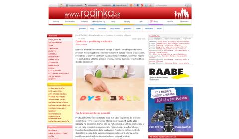 rodinka.sk – 11. 11. 2014: Dyslexia – problémy s čítaním
