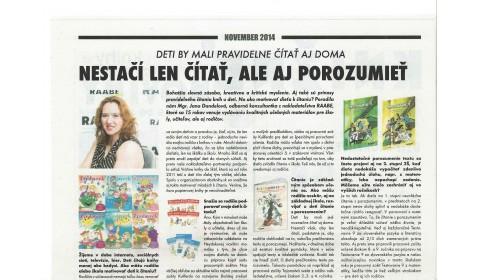 Knižné noviny abcknihy.sk – november 2014: Deti by mali pravidelne čítať aj doma.