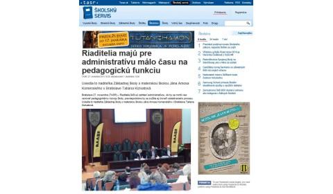 TASR – 27. 11. 2014: Riaditelia majú pre administratívu málo času na pedagogickú funkciu
