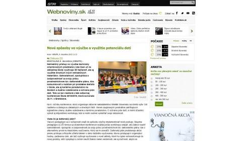 webnoviny.sk – 8. 12. 2015: Nové spôsoby vo výučbe a využitie potenciálu detí