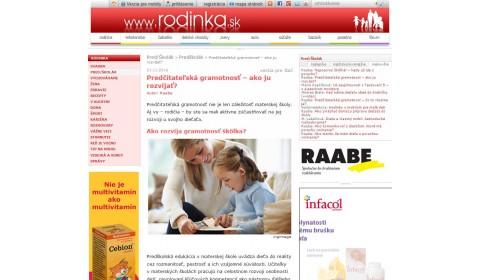 rodinka.sk – 21. 11. 2016:  Predčitateľská gramotnosť – ako ju rozvíjať?