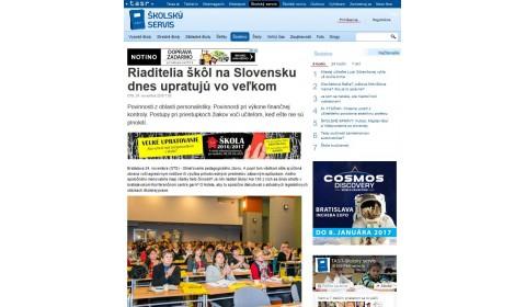 skolskyservis.sk – 24. 11. 2016: Riaditelia škôl na Slovensku dnes upratujú vo veľkom
