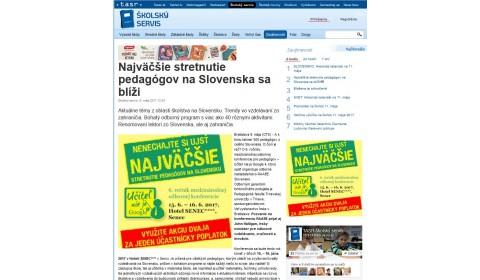 skolskyservis.sk – 11. 5. 2017: Najväčšie stretnutie pedagógov na Slovensku sa blíži