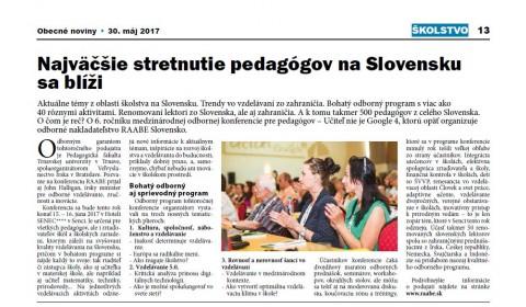 Obecné noviny – 31. 5. 2017: Najväčšie stretnutie pedagógov na Slovensku sa blíži