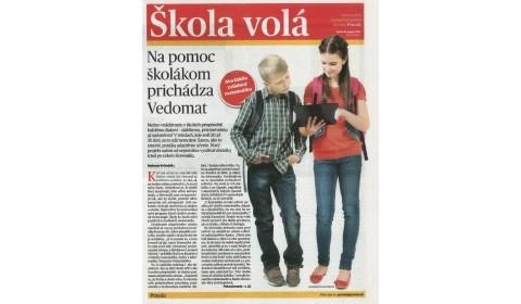 denník Pravda – 16. 8. 2017: Na pomoc školákom prichádza Vedomat