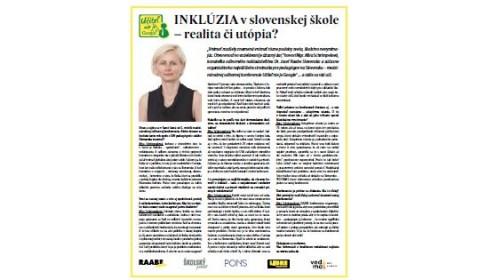 Pravda – 15. 6. 2017: INKLÚZIA v slovenskej škole – realita či utópia?