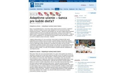 skolskyservis.sk – 15. 06. 2017: Adaptívne učenie – šanca pre každé dieťa?
