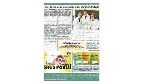 Učiteľské noviny 2/2017, strana 28: Zapojte žiakov do novej chemickej súťaže a SKÚSTE POKUS