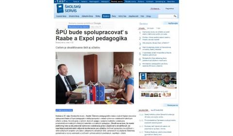 skolskyservis.sk – 26. 5. 2017: ŠPÚ bude spolupracovať s Raabe a Expol pedagogika
