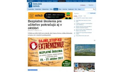 www.skolskyservis.sk – 4. 10. 2017: Bezplatné školenia pre učiteľov pokračujú aj v októbri