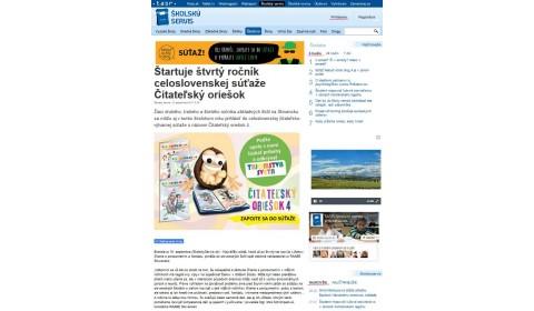 www.skolskyservis.sk – 19. 9. 2017: Štartuje štvrtý ročník celoslovenskej súťaže Čitateľský oriešok