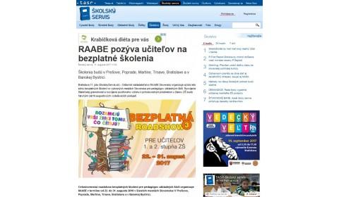 skolskyservis.sk – 11. 8. 2017: RAABE pozýva učiteľov na bezplatné školenia