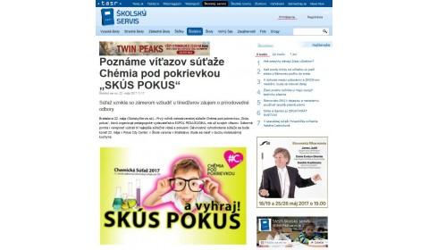 """skolskyservis.sk – 22. 5. 2017: Poznáme víťazov súťaže Chémia pod pokrievkou """"SKÚS POKUS"""""""