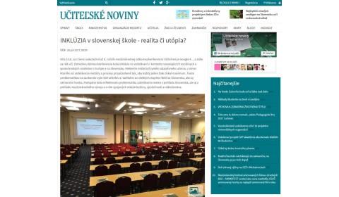 Učiteľské noviny – 26. 6. 2017: INKLÚZIA v slovenskej škole - realita či utópia?