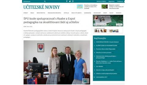 ucn.sk – 25. 5. 2017: ŠPÚ bude spolupracovať s Raabe a Expol pedagogika na skvalitňovaní škôl aj učiteľov